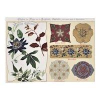 RARE PAIR-Matted Art Nouveau Floral Design Lithographs