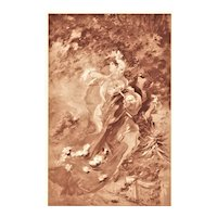 Matted Lithograph Dancing Women in the Park-Art Nouveau style by Jules Cheret