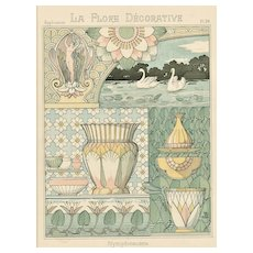 RARE c1880s French Art Nouveau Decorative Floral Design Chromolithograph-Water Lily