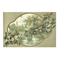 Matted 1892 French Art Nouveau Lithograph Pond with Swans