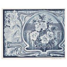 Vintage Art Nouveau French Design Lithograph-Fantasy Flowers