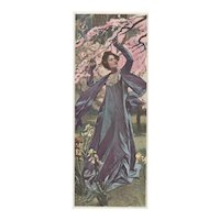 Matted French Art Nouveau 1890's print-Pretty Lady with Flowers