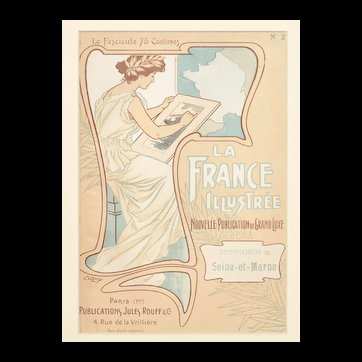 Matted 1899 Art Nouveau French Lithograph- Artist at Work