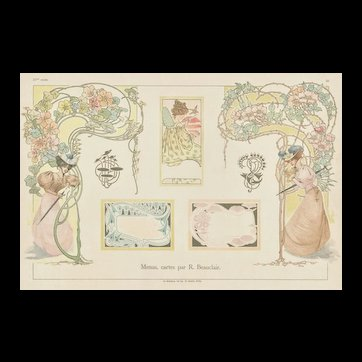 French c1900 Art Nouveau Design Lithograph-menus, papers