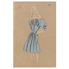 Original 1940s French Fashion Drawing