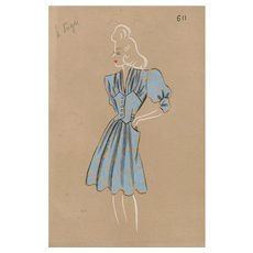 Original 1940s French Fashion Drawing