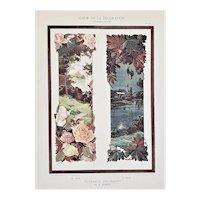 c1900 French Art Nouveau Botanical Lithograph-Day & Night
