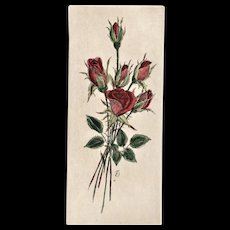 Original French Botanical Bouquet Lithograph-ROSES