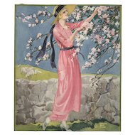 Vintage Print-Woman with Flowers