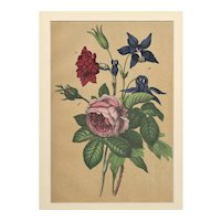 RARE Matted French Mid-1880s Botanical Chromolithograph Print Roses