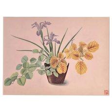 Matted Japanese Botanical Design Print-Iris