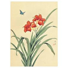 Mid-Century Chinese Botanical Lily on Silk