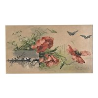 1800s French Botanical Landscape with Butterflies-Chromolithograph Print