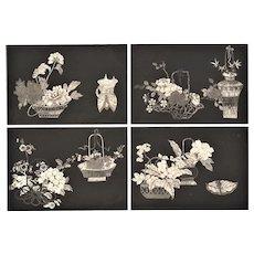 Art Deco Asian Botanical Design Lithograph