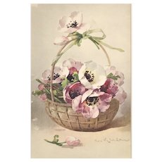Matted 1880s French Flower Basket Botanical  Chromolithograph