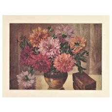 1928 Matted Botanical Print-Chrysanthemums