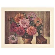 1928 Matted Botanical Print-Chrysanthemums