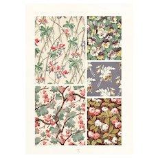c1900 French Art Nouveau Botanical Design Lithograph