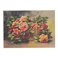 1928 Matted Botanical Print- Roses