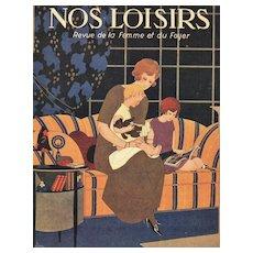 Art Deco Vintage Print-Mother & Children Reading