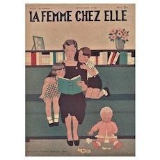 Matted Art Deco print-Mother & children reading