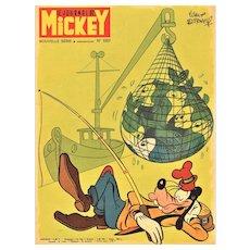 Vintage Disney Character Print-Goofy going fishing