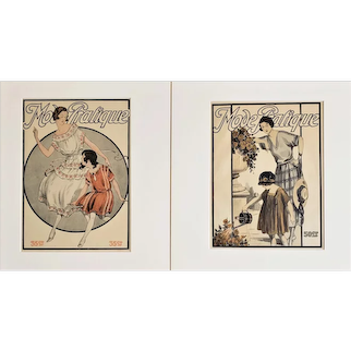 1919 Pair French Mother & Daughter Fashion Prints, Matted