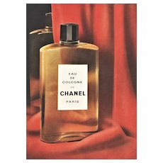 Matted Mid-Century Vintage Chanel Advertisement Cologne Print