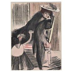 Matted Vintage French Print- Elegant Woman of Fashion 1905