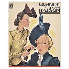 Matted Art Deco 1938 Fashion Print