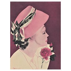 PINK! HATS! ROSES!  The perfect Mid-Century Vintage Fashion Print