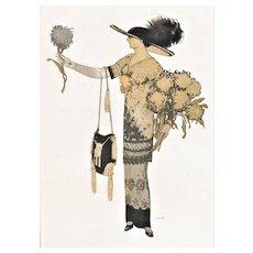 Vintage French Art Deco Fashion Print