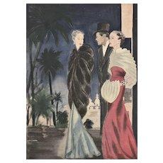 French 1930s Art Deco evening fashion print