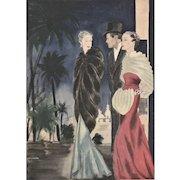 French Art Deco evening fashion print