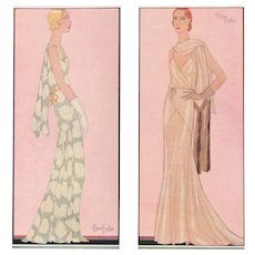 Pair-1931 Art Deco Fashion Prints