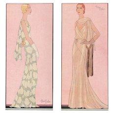 Pair-1931 Art Deco Fashion Prints