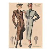 Mid-Century Women's Fashion Lithograph-1948 Chic Suits