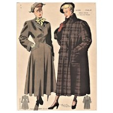 Mid-Century Women's Fashion Lithograph-1948 coats