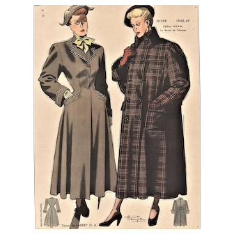 Mid-Century Women's Fashion Lithograph-1948 coats