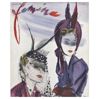 Art Deco Women's Fashion Print -with HATS