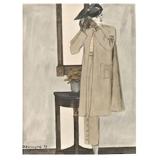 Matted 1937 Art Deco French Fashion Print by Morgue