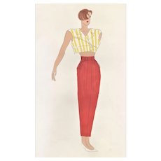 CHIC 1980s Original French Fashion Design Drawing in Watercolor