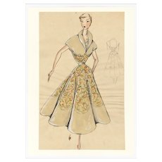 Hand Painted Original 1950s Vintage Fashion Watercolor Drawing