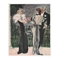 Matted Vintage French Fashion Print -Elegant Evening Dress