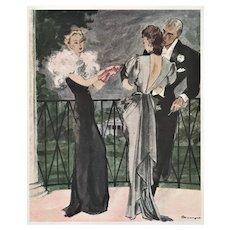 Matted Vintage French Fashion Print -Elegant Evening Dress