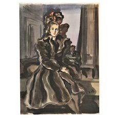 Luxurious  Matted Vintage Mid-Century 1940s French Fashion Print