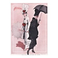 Matted 1914 French Fashion Print-Women with Parasols, Roses