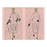PAIR Mid-Century French Fashion Design Prints