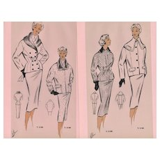 PAIR Mid-Century French Fashion Design Prints