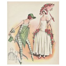 FUN!! Matted Fashion Costume Design Print for Gardener who Loves Roses